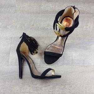 Black Heels Open Toe Stiletto Sandals